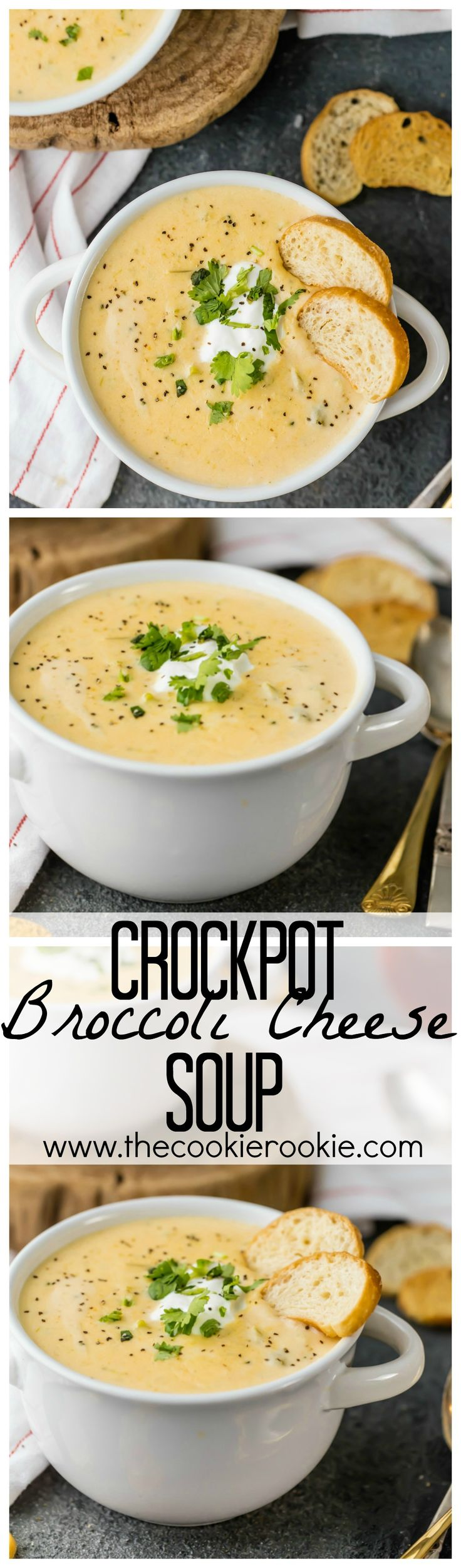SUPER EASY Crockpot Broccoli Cheese Soup recipe! Dreams do come true! The perfect EASY comfort food for any occasion!! Love to make this in bulk for friends!