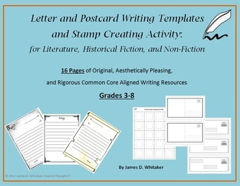 Letter Writing Templates and Stamp Making Common Core Activities: Excellent and Creative Resource for all Subjects! $