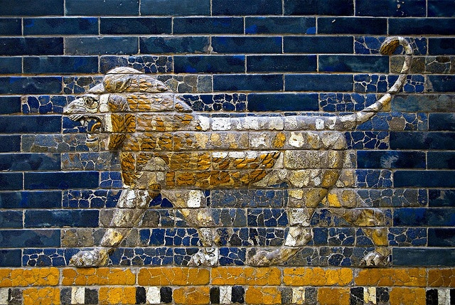 The Lion is the symbol of Babylon, and represents Ishtar, the goddess of fertility, love and war. Meant not only to symbolise Babylon, but to instill fear in enemies, it seems fitting that a single stone lion, albeit poorly preserved, is the only true remainder of Babylon that stands in Iraq today.    Some 120 lions were created in polychromed relief tiles for the processional way towards the northern entrance to Babylon, the Gate of Ishtar, as well as Nebuchadnezzar's Throne Room.