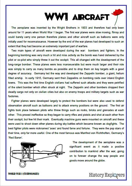 This page is taken from the History Explorer Resource Pack – World War 1 Technologies. It is written in plain, simple language and is a great way to introduce your students to this topic. Use it to promote discussion or for research. http://designedbyteachers.com.au/marketplace/world-war-1-technologies-aircraft/