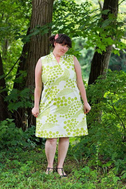 mod lime dot  sleeveless shift dress by 8loveyvintage8 on Etsy, $25.00