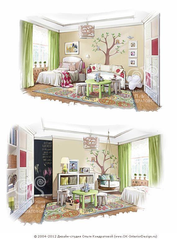 Рисунок интерьера салатовой детской  http://www.ok-interiordesign.ru/ph_dizain-detskoy-komnaty.php