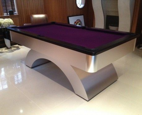 Bespoke 7ft arched contemporary UK pool table in brushed aluminium with black cushion rail, black leather pockets and purple cloth. Shop here: http://www.snookerandpooltablecompany.com/pool-tables/uk-pool-tables/contemporary-bespoke-uk-pool-tables/arched-contemporary-uk-pool-table-black-cushion-rail-and-purple-cloth.html