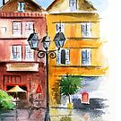 Colorful house painted in watercolor