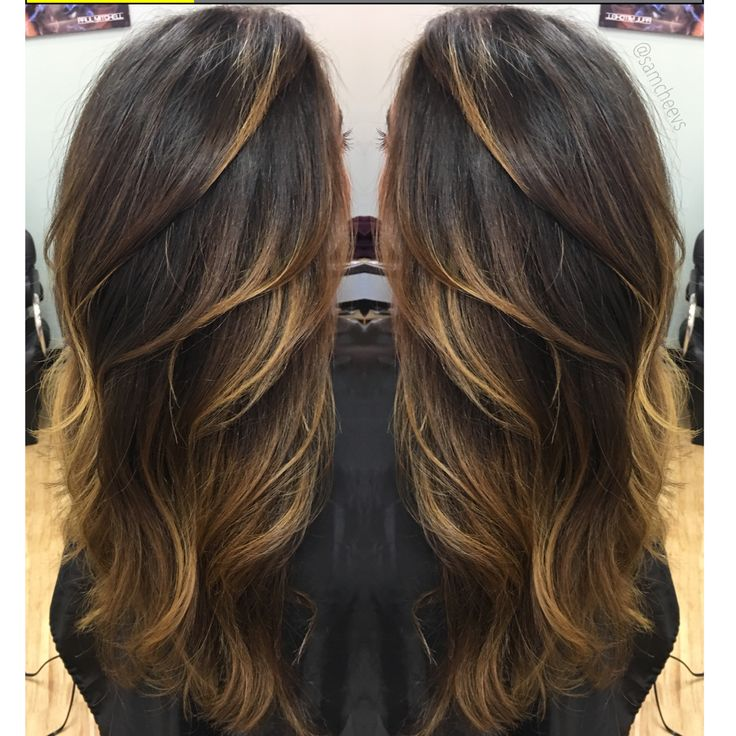 Blonde highlights for dark hair types // balayage ombré for black hair // perfect blend