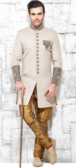 beige modern pakistani style sherwani