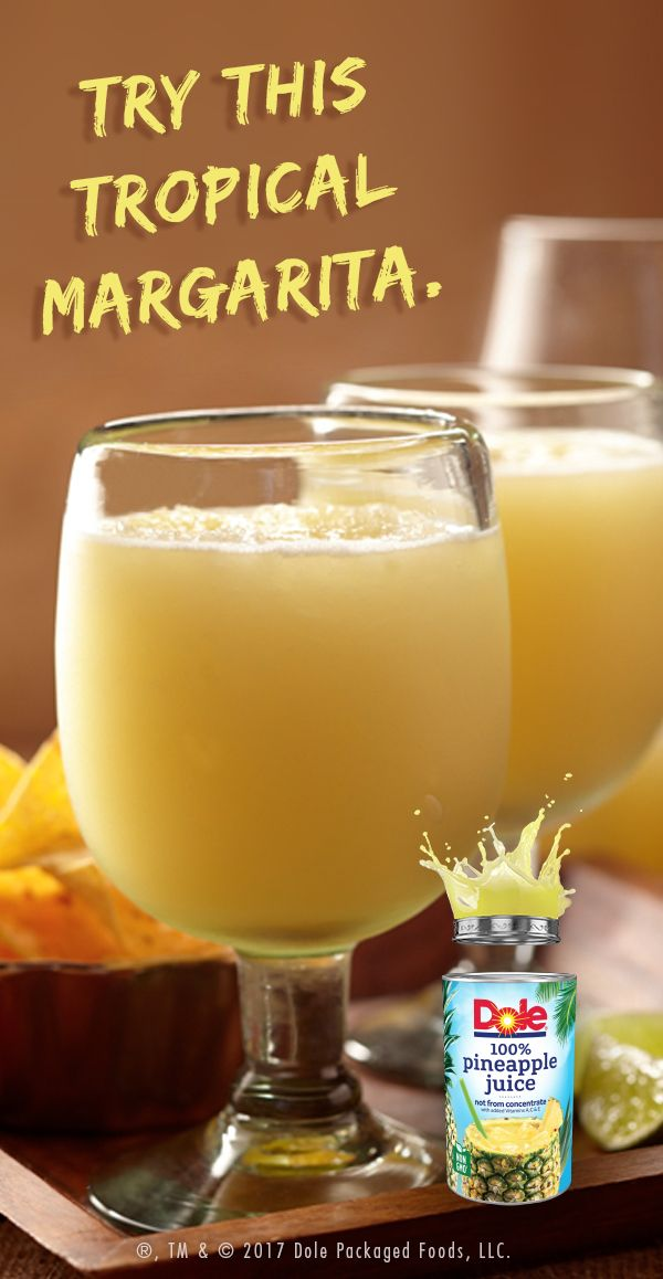 3 oz DOLE® Canned 100%Pineapple Juice 1 1/2 oz tequila 1 oz triple sec 1 oz lemon juice 1/2 oz crushed ice