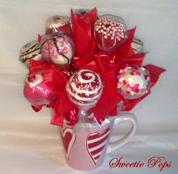 Valentine's Cake Pop Bouquet, by Sweetie Pops Shop @ https://www.facebook.com/?ref=logo#!/SweetiePopsShop