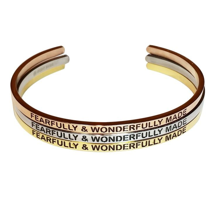 """Check out these inspirational """"Fearfully & Wonderfully Made"""" engraved Bangles. You can get these beautiful bracelets in Gold, Rose Gold, and Silver. #ad"""