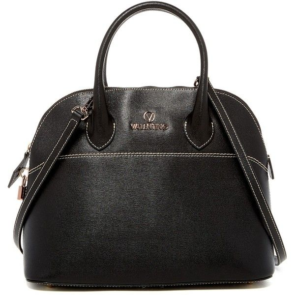 Valentino By Mario Valentino Copia Saffiano Leather Convertible Tote ($385) ❤ liked on Polyvore featuring bags, handbags, tote bags, black, zip tote bag, zip top tote, zipper purse, mario valentino and zipper tote