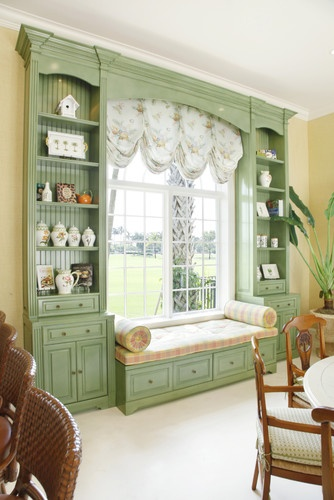 Green Painted Custom Built-in with Window Seat.  Would love to have a window seat somewhere in my house.