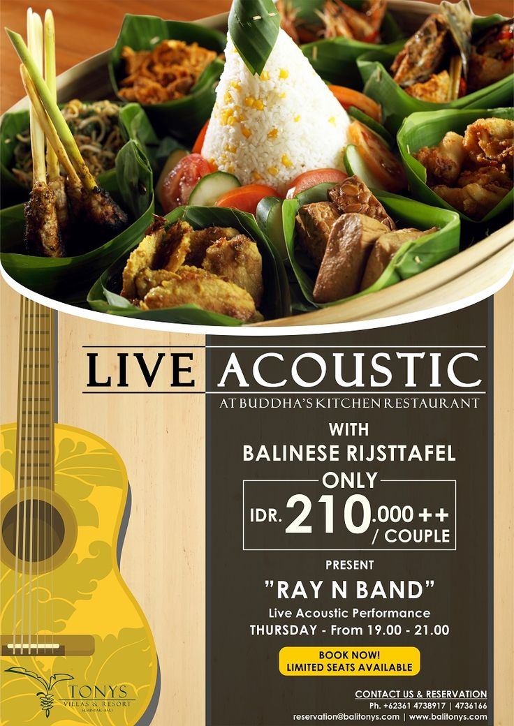 Balinese Rijsttafel come again! Make sure you'll be there on THURSDAY at 7pm to 9pm. Live Acoustic and special dinner only at Buddha's Kitchen Restaurant. . . For table reservation email to reservation@balitonys.com or (0361)4736166. . . #bali #seminyak #tonysvilla #buddhaskitchenrestaurant #holiday #vacation #acoustic #music #guitar #holiday #vacation #gathering #dinner #specialdinner #wonderful #lifestyle #petitenget #restaurant  www.balitonys.com