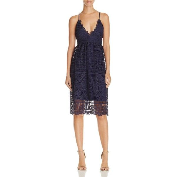 Bardot Versailles Lace Dress - 100% Exclusive (£113) ❤ liked on Polyvore featuring dresses, french navy, navy blue lace dress, strappy dress, navy blue dress, blue dress and empire waist dresses