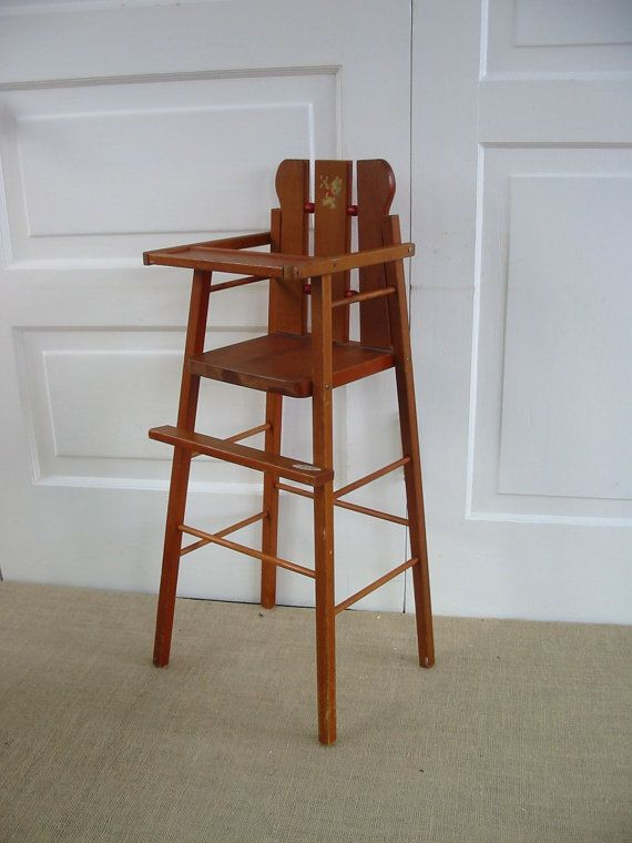 Vintage Doll High Chair Wood Decal With Rocking Chair