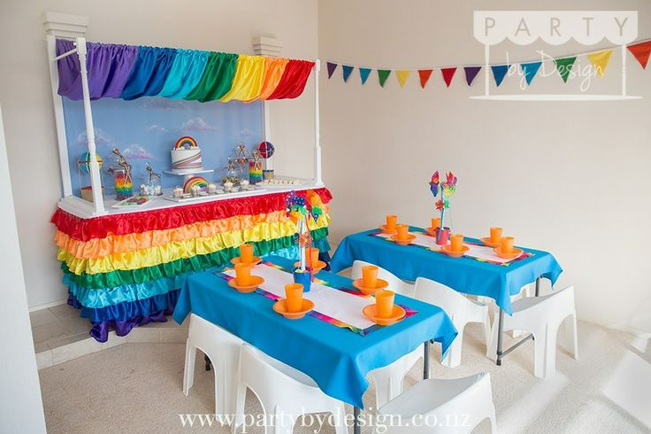 Rainbow themed children's party package. Contact us at party@partybydesign.co.nz.