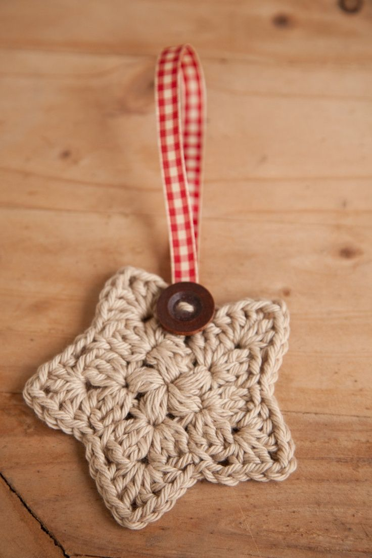 Plaid monograms natural wood ornaments feathers and i couldn t - Crochet Christmas Star Wood Button Plaid Red Ribbon Made To Order This Can Be Made So Easily Great For Christmas Packages