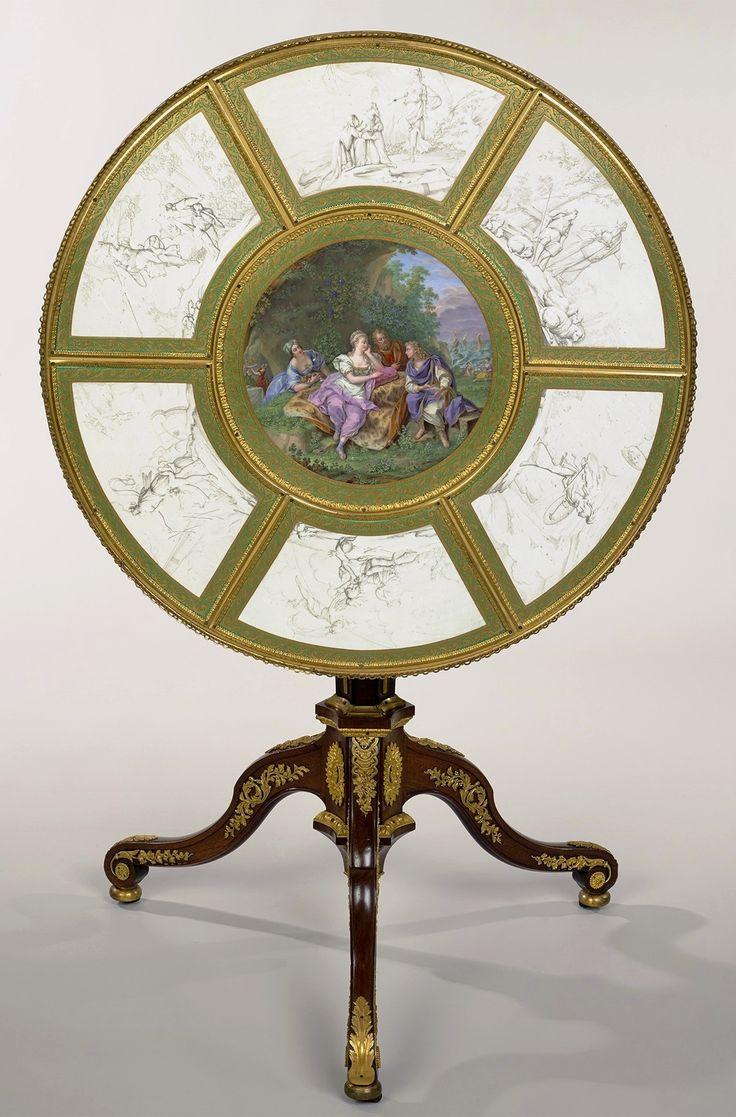 """Guéridon table top with """"Adventures of Telemachus"""" of Elżbieta Grabowska by Martin Carlin and Charles Nicolas Dodin, ca. 1780, Zamek Królewski w Warszawie (ZKW)"""