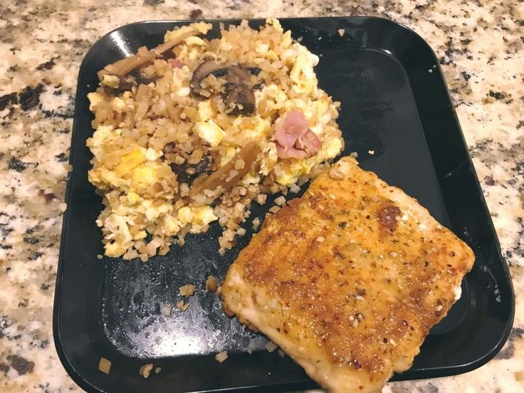 "Bacon Fried ""Rice"" with a Salmon Filet"