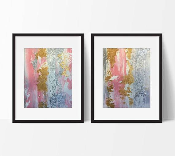 Title Rapunzel abstract diptych. FREE SHIPPING WITHIN AUSTRALIA BY EXPRESS POST - (I now only ship within Australia - please contact me should you wish to request an international shipping quote).  Two high quality 8x10 original art pieces on canvas panel. Beautiful light magenta pink, white, metallic gold & metallic silver abstract painting. Gorgeous sandy texture - utterly unique and gleaming. Frame not included. Photos may not be exactly to scale. Canvas panels are 3mm thick.  I only u...