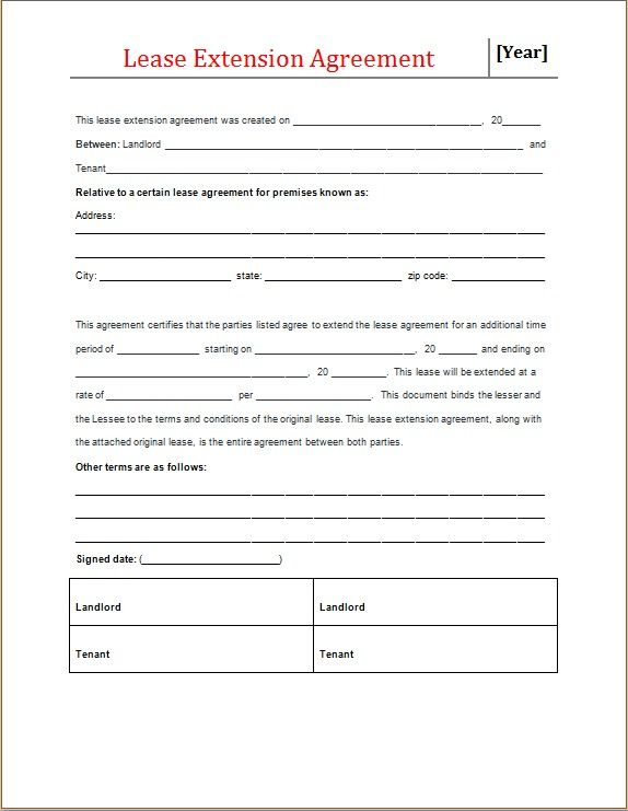 Lease Extension Agreement Form Microsoft Word Lease Being A Landlord Agreement