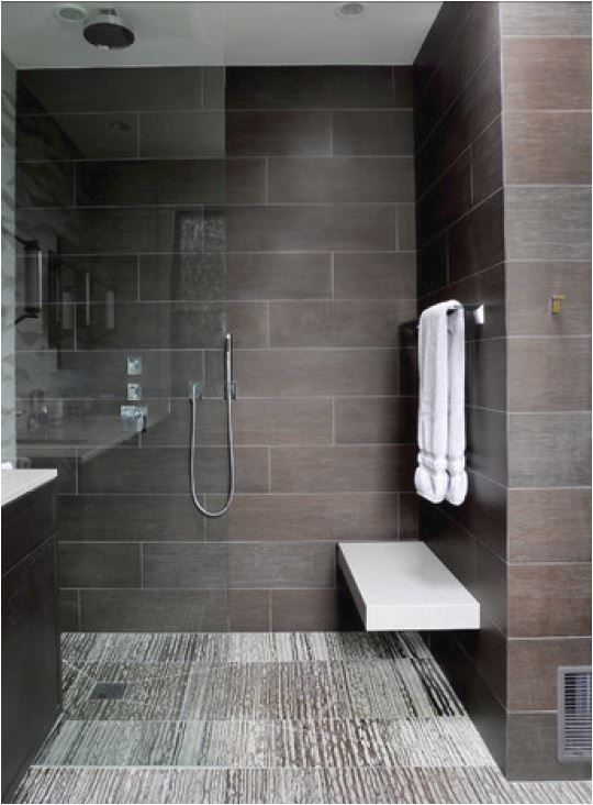 Love the open shower with bench & the tile.
