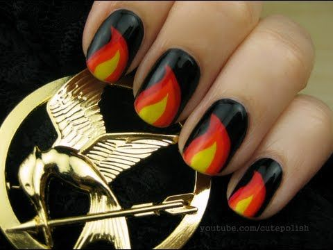 Hunger Games nail design by cutepolishNails Art, Catching Fire, The Hunger Games, Nails Design, Fire Nails, Hungergames, Nails Polish, Nail Art, Hunger Games Nails