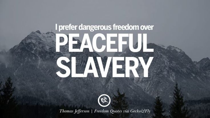 I prefer dangerous freedom over peaceful slavery. - Thomas Jefferson Inspiring Motivational Quotes About Freedom And Liberty Instagram Pinterest Facebook Happiness