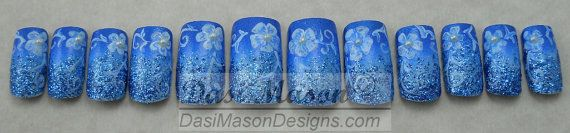 Sky Blue Floral Instant Acrylic Nail Set by dasimason on Etsy, $12.00
