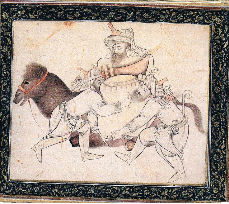 iran painting signed:unknow three man are putting the burden on the camel source:the british library london  سه مرد در حال قرار دادن بار بروی شتر بدون رقم کتابخانه بریتانیا لندن