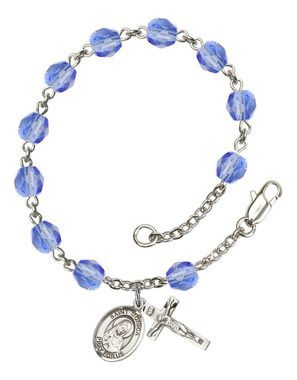 St. Monica Silver-Plated Rosary Bracelet with 6mm Saphire Fire Polished beads