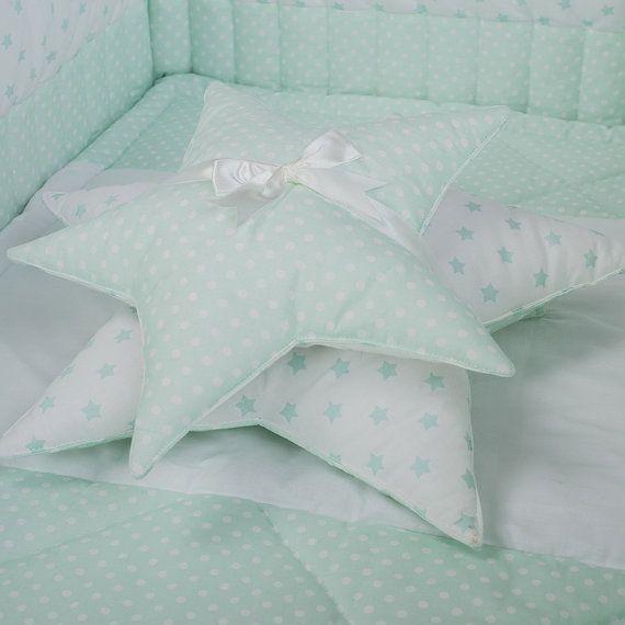 Decorative pillow set Mint Stars  2 Star pillows by CotandCot