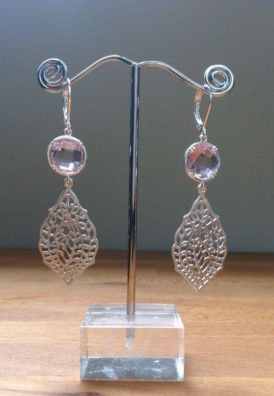 Matte silver and purple leaf filigree earrings by PetalJewels