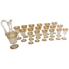 18 Glasses and Decanter in Crystal St Louis Thistle Gold Model, French