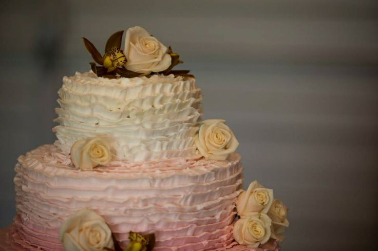 ombre, pink, white, wedding cake, roses