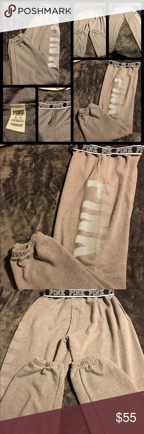 Like New Pink Victoria'sSecret Gray Sweatpants Like new Pink Victoria'sSecret gray sweatpants with PINK in white dots going down left leg.  2 front pockets.  Fold over waistband that's says PINK in white letters all around.  I think these are Campus pants but not sure.  No trades.  Will price drop. PINK Victoria's Secret Pants Track Pants & Joggers