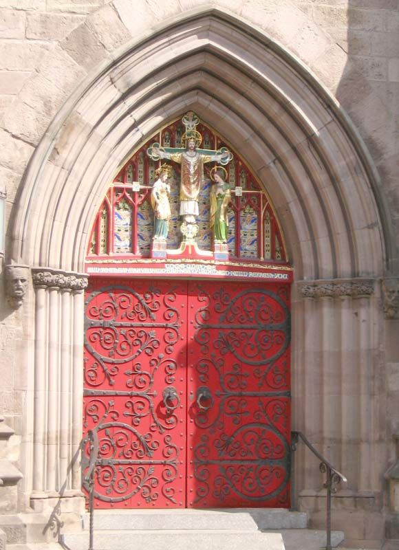 Old Catholic churches used red doors to remind parishioners of Christ's blood and that it was a place free from evil.