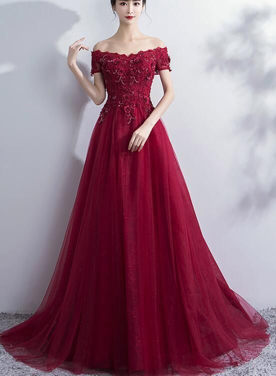Wine Red Off Shoulder Tulle and Lace Evening Gowns