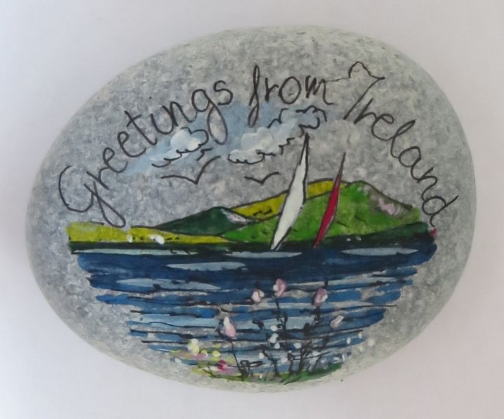 Greetings From Ireland - Pebble Seascape With Blue Clouds And Wild Flowers (No.37) by PebbleAndMosaic on Etsy