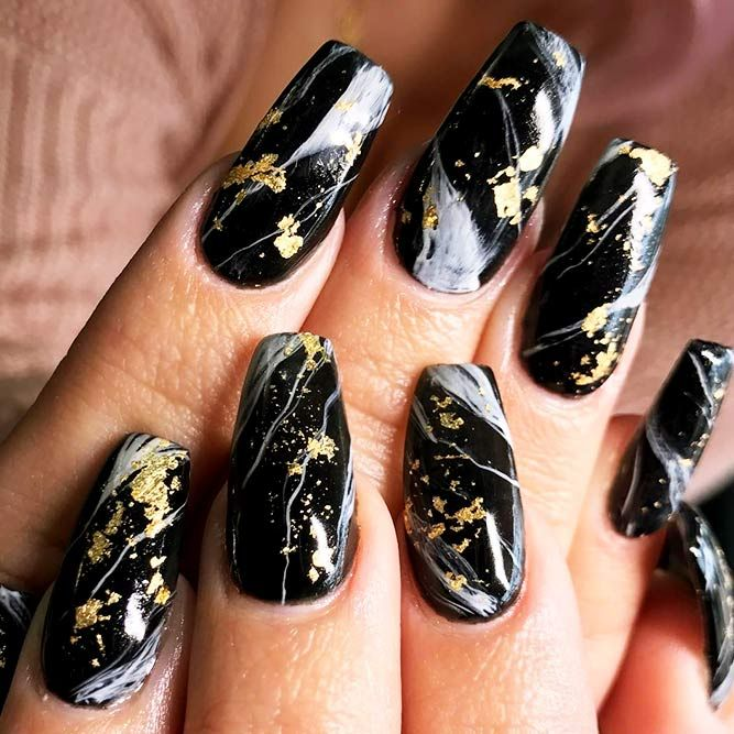 Gold Foil Nails Art