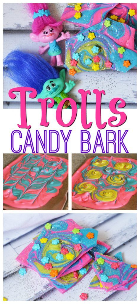 This Trolls candy bark recipe is just as bright, sparkly, and whimsical as the movie. #DreamWorksTrolls http://www.southernfamilyfun.com/trolls-movie-candy-bark-recipe/
