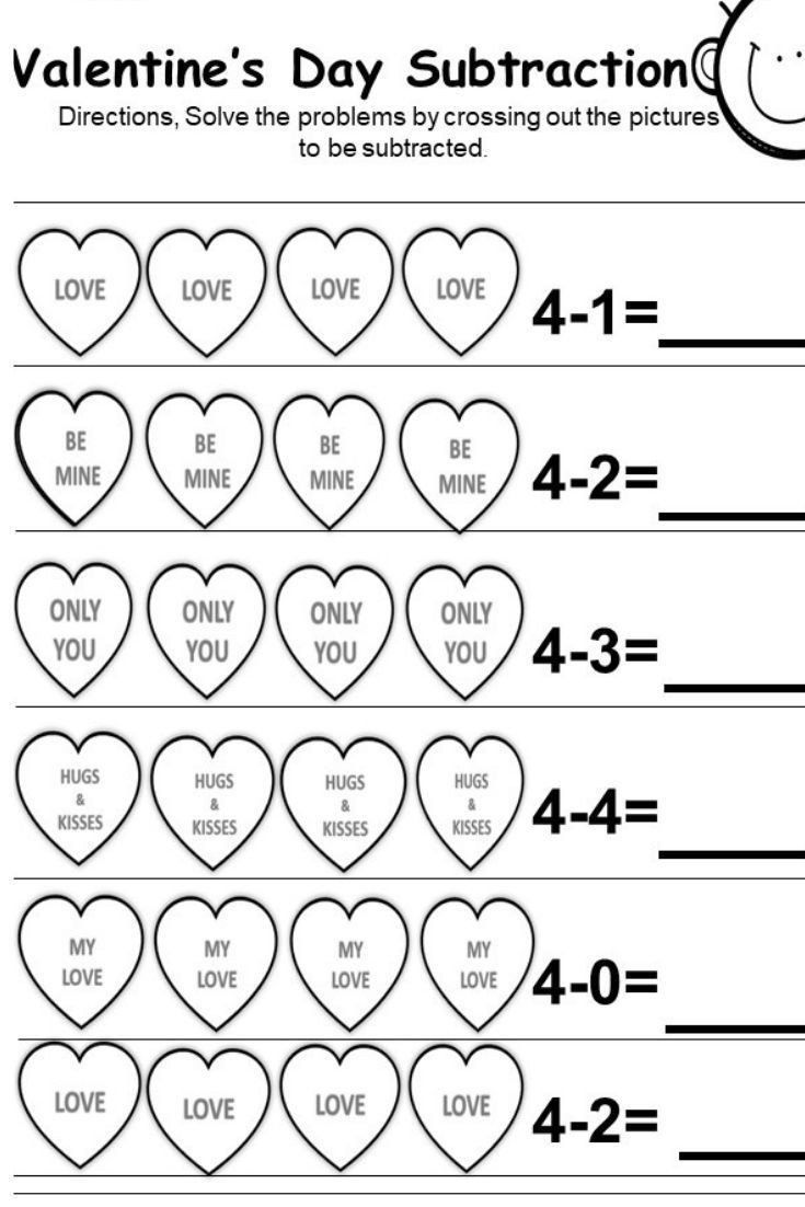 Valentines Day Worksheets for Kindergarten Free Valentine Subtraction  Print…   Kindergarten subtraction worksheets [ 1102 x 735 Pixel ]