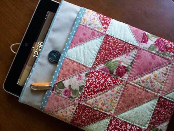 Tablet cover  PATCHWORK  red rose and green