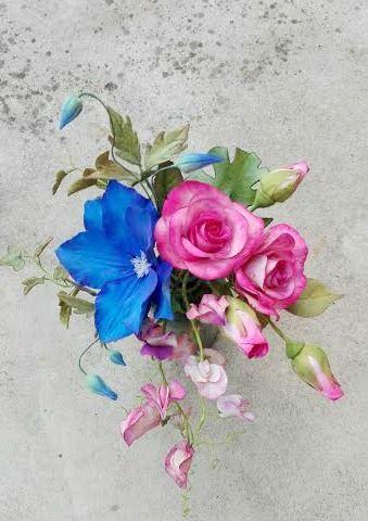 Roses, clematis,monstera, sweet pea
