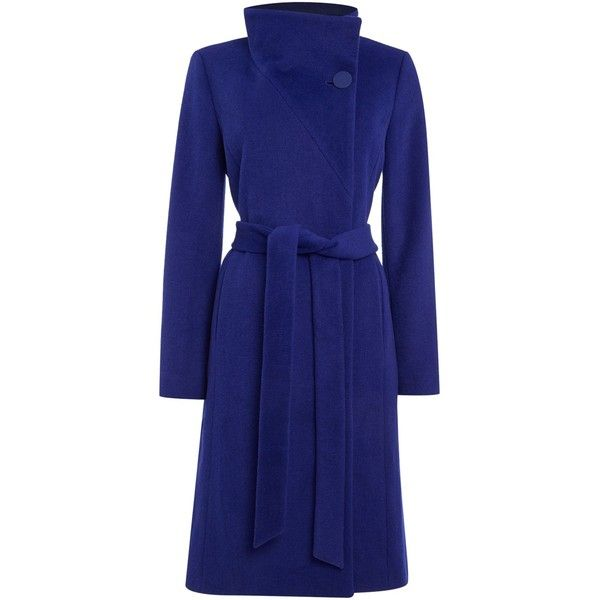 Pied a Terre Hallie Funnel Neck Coat (£119) ❤ liked on Polyvore featuring outerwear, coats, верхняя одежда, cobalt, women, blue coat, waterproof coat, knee length coat, pied a terre and long sleeve coat