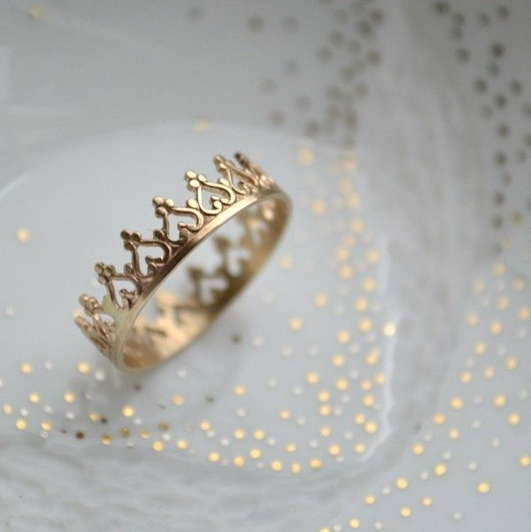Crown Ring 14k gold ring gorgeous idea for a promise ring :)