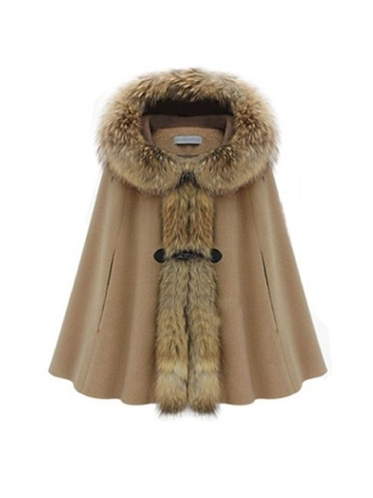Hooded Fur Collar Warm Women Cape Winter Coat Camel