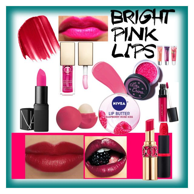 """""""Bright Pink Lips"""" by mayal-2 ❤ liked on Polyvore featuring beauty, Lime Crime, Burberry, Yves Saint Laurent, Urban Decay, Clarins, Eos, Nivea, Laura Geller and Maybelline"""