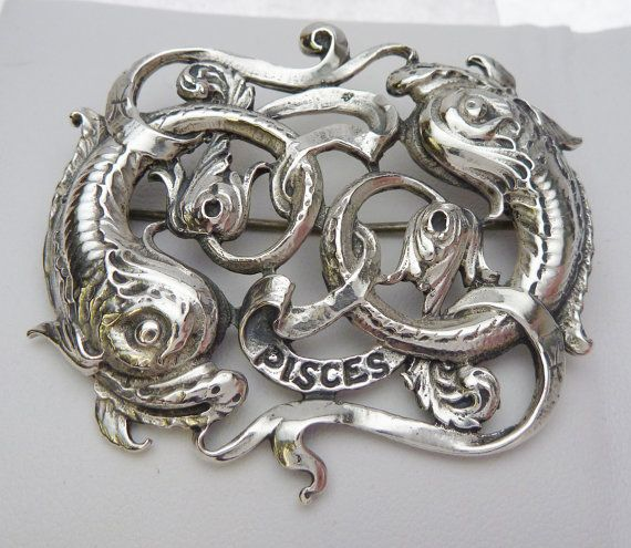 Vintage Cini Sterling Pisces Brooch by KlinesJewelry on Etsy