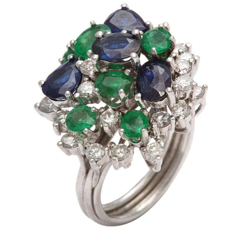 Assymetric Sapphire  Emerald & diamond Cocktail Ring