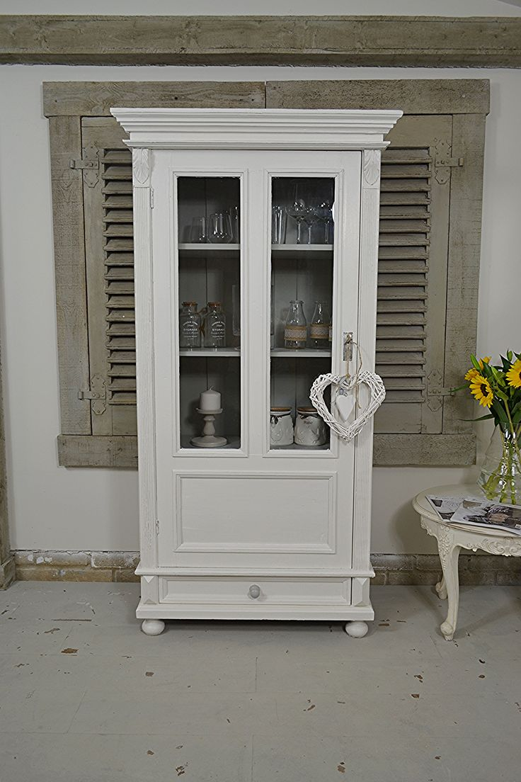 This small Dutch linen cupboard/storage cabinet is perfect for a landing or kitchen, or just about anywhere! The antique wood is rustic and has an old farmhouse charm, which we've painted in Farrow & Ball Strong White. Inside, F&B Lamp Room Grey highlights your wares perfectly. https://www.thetreasuretrove.co.uk/cabinets-and-storage/small-white-shabby-chic-rustic-linen-cupboard-1 #farrowandball #shabbychic
